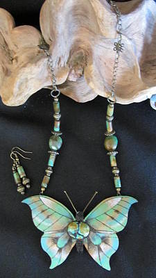 Gourd Butterfly With Turquoise #i16 Original by Barbara Prestridge