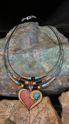 Jewelry - Gourd Heart With Turquoise #h92 by Barbara Prestridge
