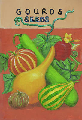 Painted Gourds Painting - Gourd Seed Packet Orange by Vicki VanDeBerghe