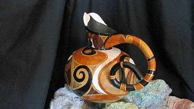 Pyrography - Gourd Teapot by Barbara Prestridge