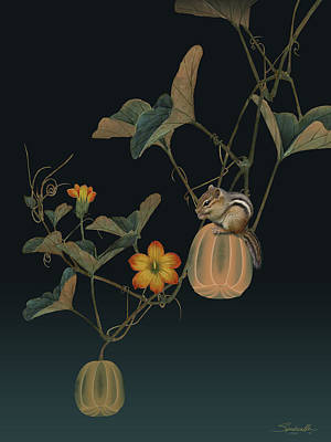 Digital Art - Gourd Vine And Chipmunk by IM Spadecaller
