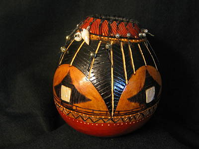 Pyrography Sculpture - Gourd With Abalone by Deborah Hildinger