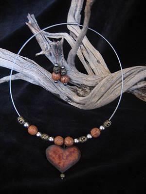 Jewelry - Gourd Wood Heart by Barbara Prestridge