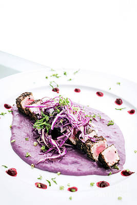 Photograph - Gourmet Asian Fusion Seared Tuna And Sesame In Beetroot Sauce by Jacek Malipan