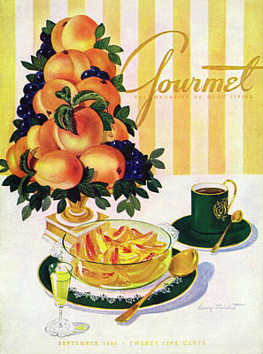 Healthy Food Photograph - Gourmet Cover Featuring A Centerpiece Of Peaches by Henry Stahlhut
