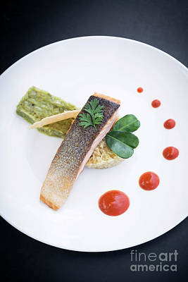 Photograph - Gourmet Fusion Cuisine Salmon Fish Fillet With Guacamole Meal by Jacek Malipan