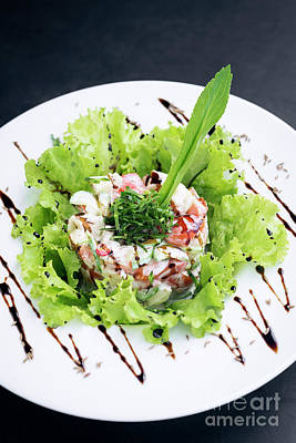 Photograph - Gourmet Fusion Seafood And Apple Celery Salad With Wasabi Mayo by Jacek Malipan