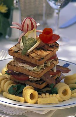 Tomatoe Wall Art - Photograph - Gourmet Sandwich Served On A Balcony by Richard Nowitz