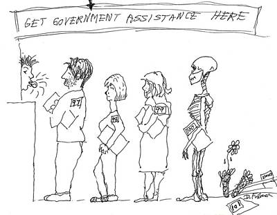 Drawing - Government Assistance by Denise Fulmer