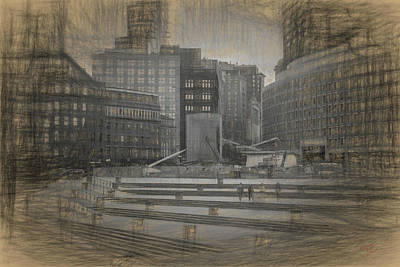 Drawing - Government Center And T Stop by Thomas Logan