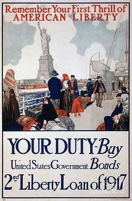 Liberty Painting - Government Poster Using The Statue Of Liberty To Promote The Sale Of Liberty Bonds 1917 Poster by Celestial Images