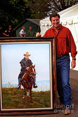 Photograph -  Governor George Allen With His Portrait Riding Horse 4207vt by Doug Berry