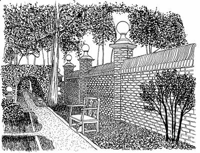 Reconstruction Drawing - Governors Palace Garden Pathway by Dawn Boyer