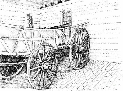Reconstruction Drawing - Governor's Palace Working Wagon by Dawn Boyer