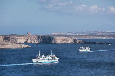 Blau Photograph - Gozo Ferries - Malta by Joana Kruse