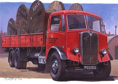 Gpo Maudslay Six-wheeler. Art Print by Mike  Jeffries