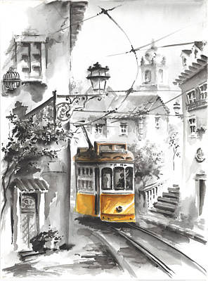Graca Lisbon Tram Black And White Background Original by Elena Petrova Gancheva