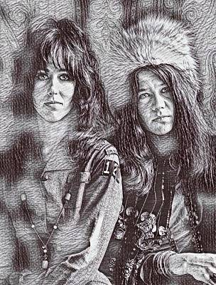 Grace Slick Drawing - Grace And Janet Drawing by Pd