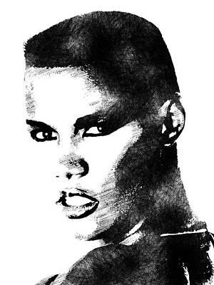 Female Drawing - Grace Jones Bw Portrait by Mihaela Pater