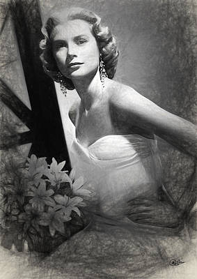 Grace Kelly Digital Art - Grace Kelly Drawing by Quim Abella