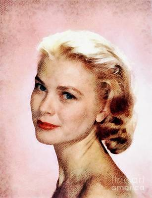 Actors Paintings - Grace Kelly, Vintage Actress by John Springfield