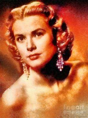 Grace Kelly Painting - Grace Kelly, Vintage Hollywood Actress by Frank Falcon