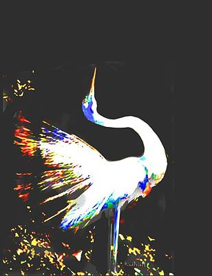 Digital Art - Grace Of Egret by Asok Mukhopadhyay