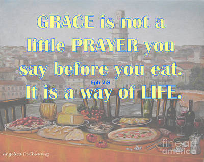 Photograph - Grace - Prayer Quote  by Italian Art