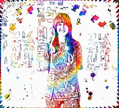 Grace Slick Painting - Grace Slick Jefferson Airplane Paint Splatter by Dan Sproul