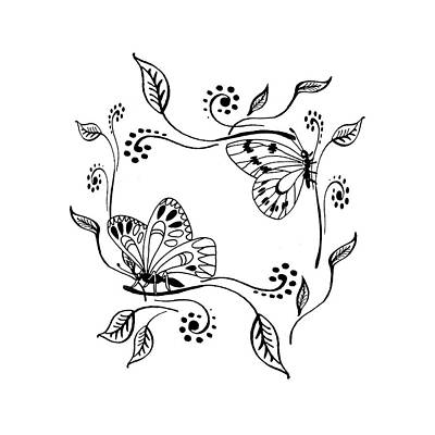 Drawing - Graceful Butterflies Baby Room Decor by Irina Sztukowski