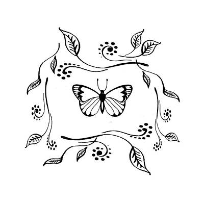 Drawing - Graceful Butterfly Baby Room Decor Iv by Irina Sztukowski