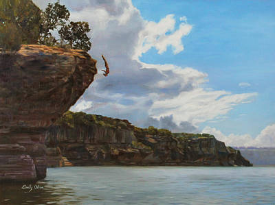 Graceful Cliff Dive Art Print by Emily Olson