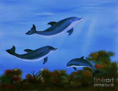 Painting - Graceful Dolphins At Play. by Cynthia Adams