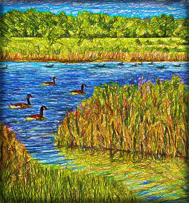 Digital Art - Geese Of The Pond - Colorado Lake by Joel Bruce Wallach