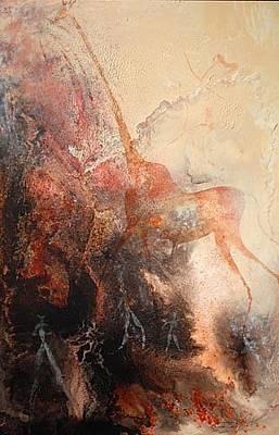 Petroglyph Painting - Graceful Giraffe by Ingrid  Albrecht