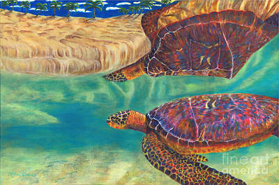 Seaturtle Painting - Graceful Reflections by Robin Grace