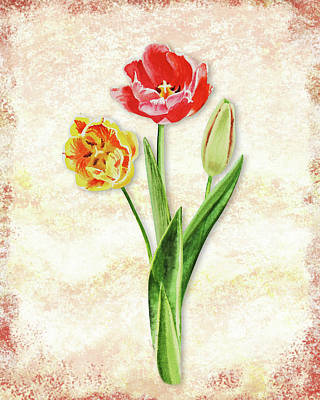 Art Print featuring the painting Graceful Watercolor Tulips by Irina Sztukowski