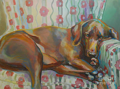 Chocolate Lab Painting - Grace's Throne by Kimberly Santini