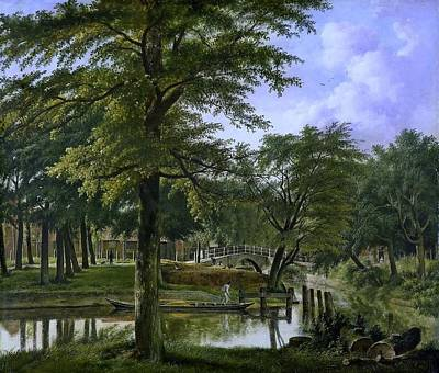 Het Painting - Gracht Bij Het Bolwerk Te Haarlem by Hendriks