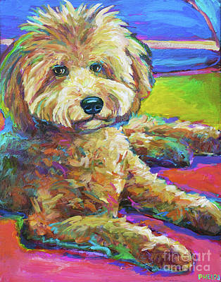 Painting - Gracie The Labradoodle by Robert Phelps