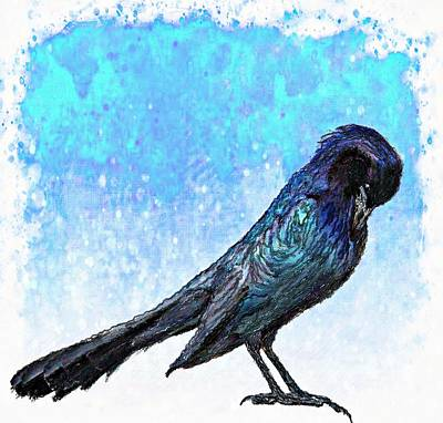 Digital Art - Grackle's Iridescence  by Barbara Chichester