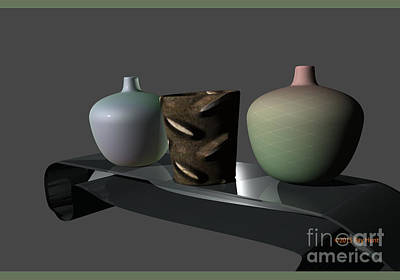 Digital Art - Gradated Vases by Ray Hunt