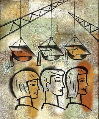 Education Painting - Graduation by Leon Zernitsky