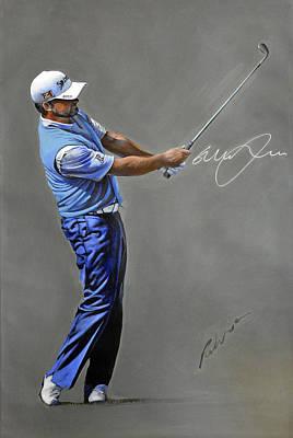 Golf Art Painting - Graeme Mcdowell Swing Portrait 2013 by Mark Robinson