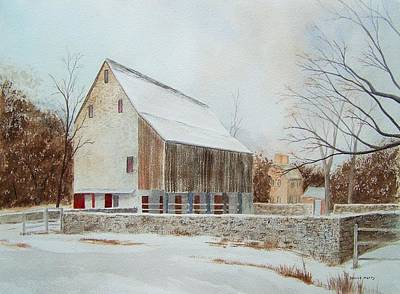 Red Barn In Winter Painting - Graeme Park In Winter by Denise Harty