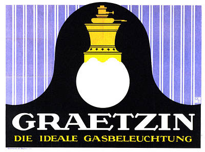 Mixed Media - Graetzin - Gas Lamp - Vintage German Advertising Poster by Studio Grafiikka