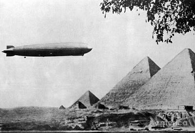 Commercial Archeology Photograph - Graf Zeppelin Over Giza Pyramids 1931 by Science Source