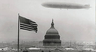 Photograph - Graf Zepplin Flying Over Washington, D.c. - 1931 by Merton Allen