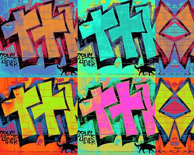 Digital Art - Graffiti And Black Cat by Rebecca Korpita