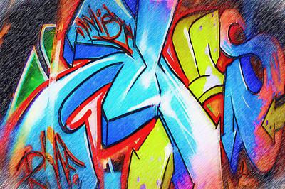 Splashy Photograph - Graffiti Art 51 by Cindy Nunn